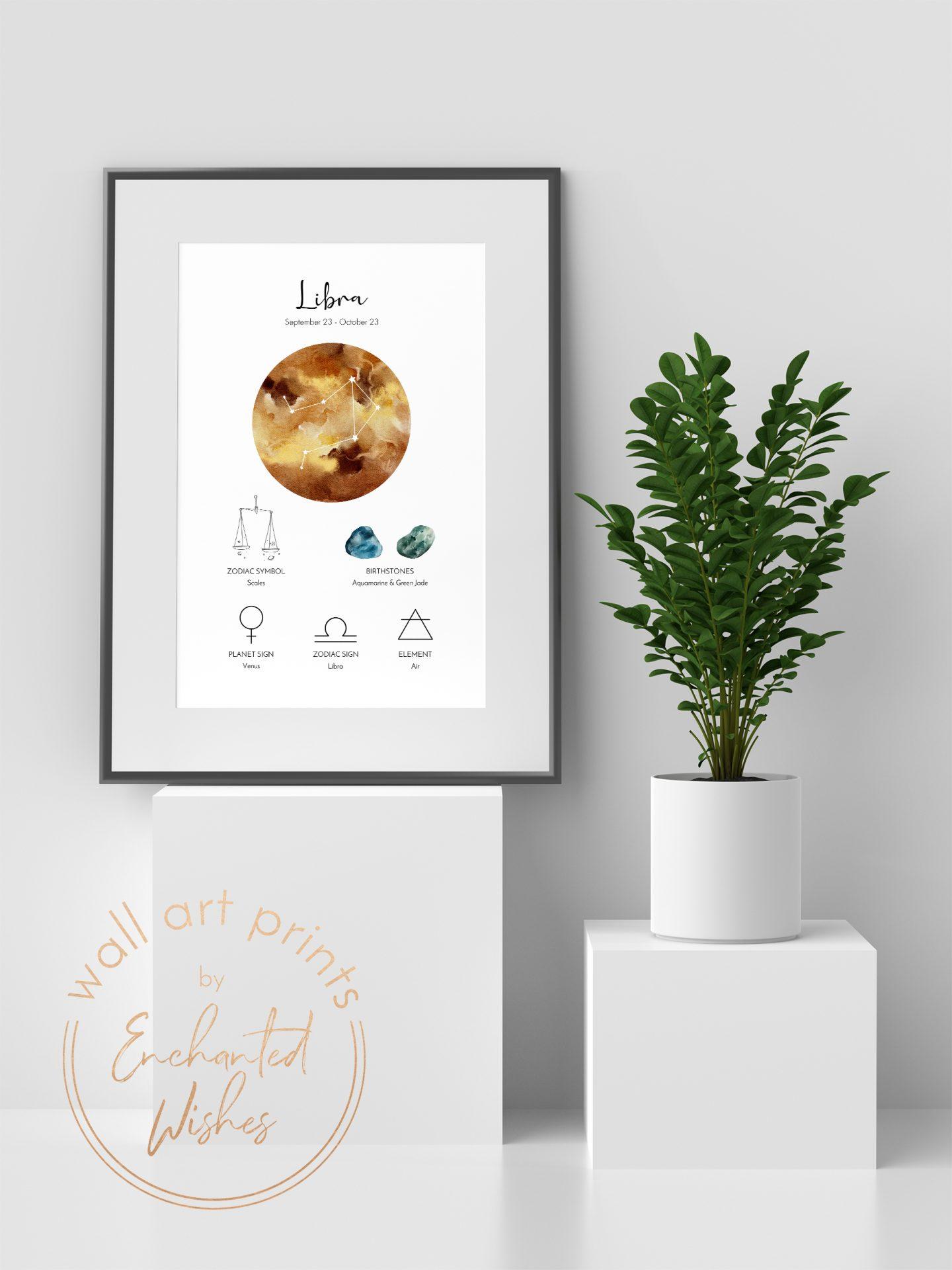Libra zodiac print