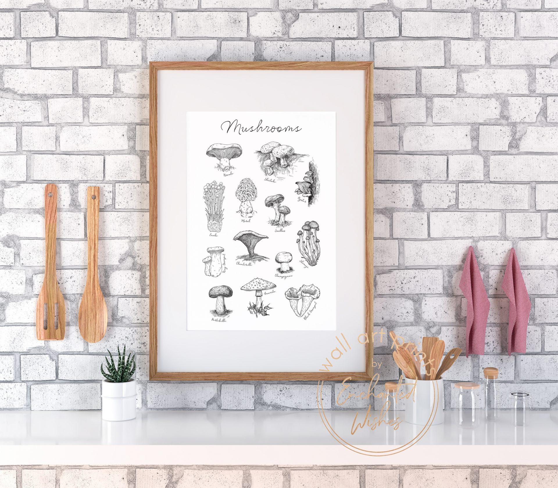 Mushrooms guide print